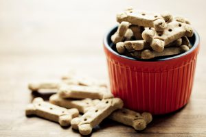 Dog treats: Bone shaped dog biscuit.